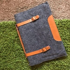 Handbags - gray wool laptop bag leather straps MacBook air